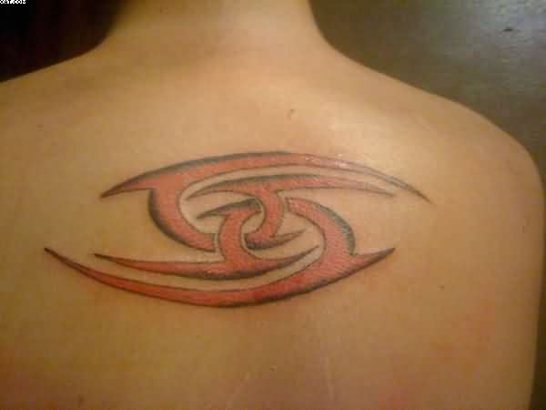 Red Ink Tribal Cancer Tattoo On Upper Back