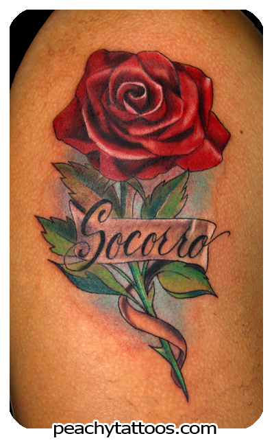 Red Rose With Banner Tattoo Design