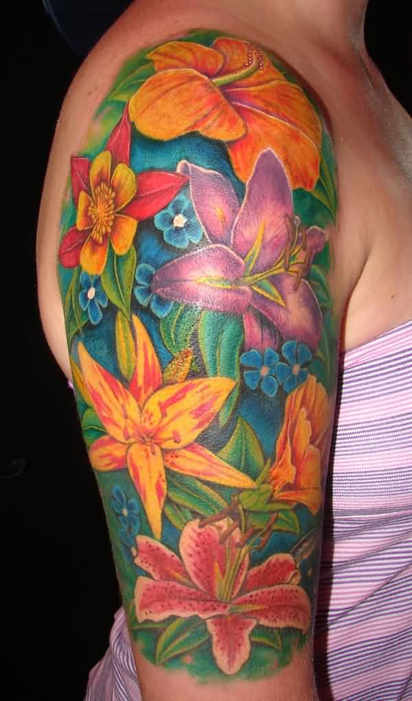 Right Half Sleeve Flowers Tattoos For Girls