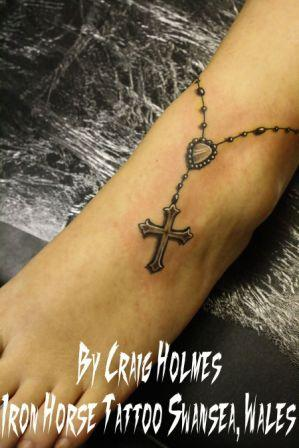 Rosary Beads With Cross Tattoo On Foot