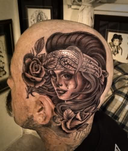 Rose And Girl Face Tattoo On Head