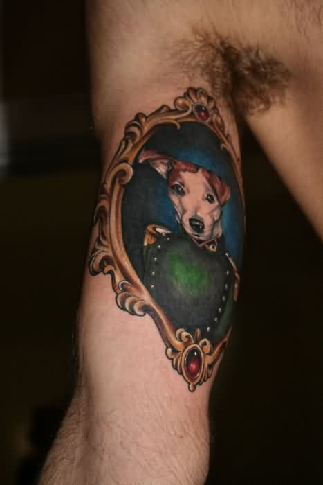Royal Dog Tattoo On Muscles