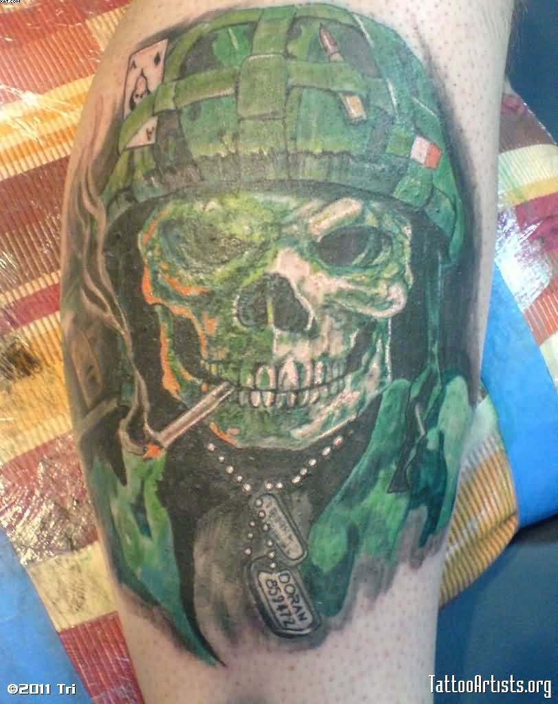 Scary Green Ink Army Skull Tattoo
