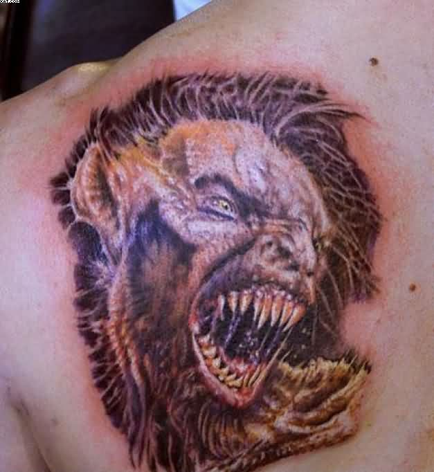 Scary Horror Tattoo On Back Shoulder