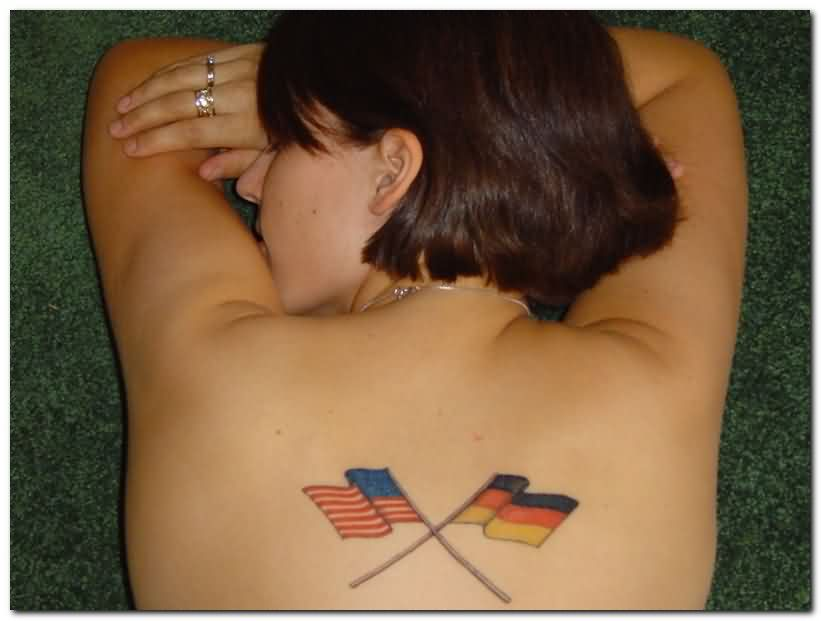 Sexy Flags Tattoos On Back For Women