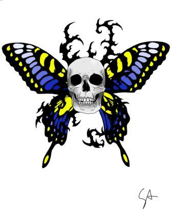 Skull Butterfly Tattoo Sample