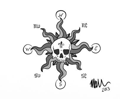 Skull Compass Tattoo Design