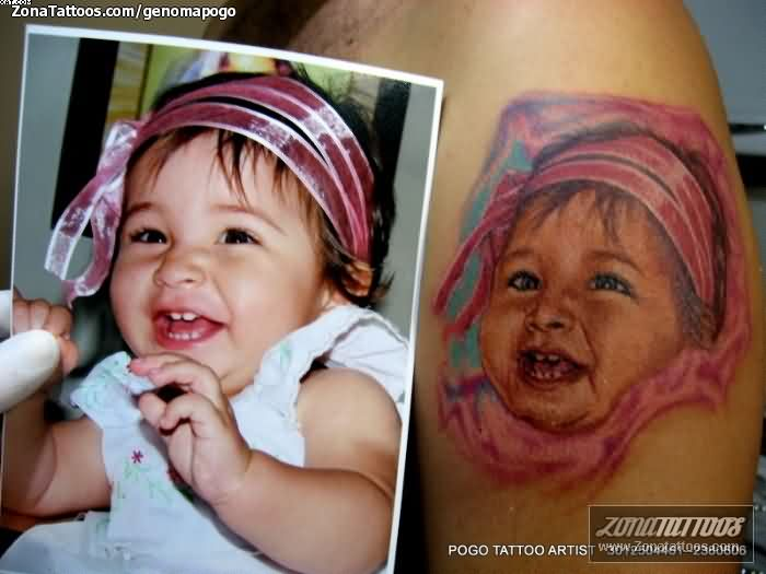 Smiling Baby Tattoo Design
