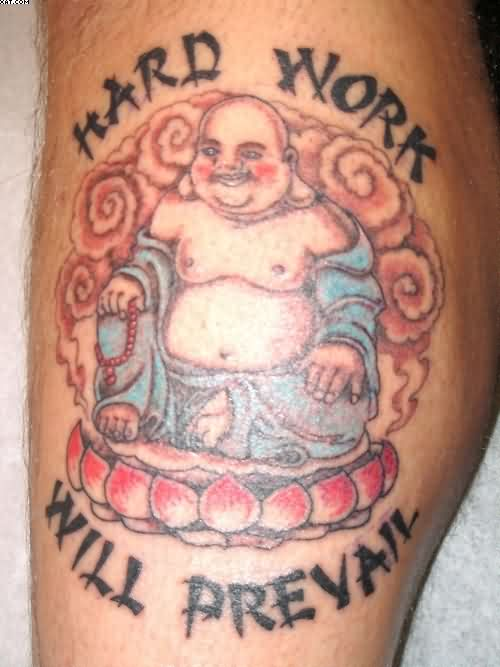 Smiling Buddha And Lotus Tattoos