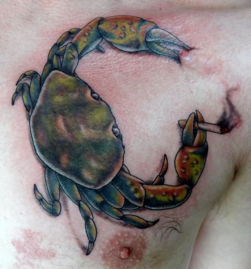 Smoking Crab Tattoo On Chest