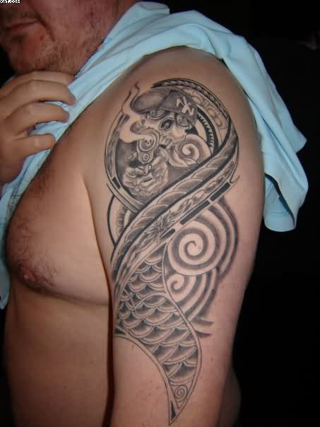 Smoking Monkey Tattoo On Shoulder