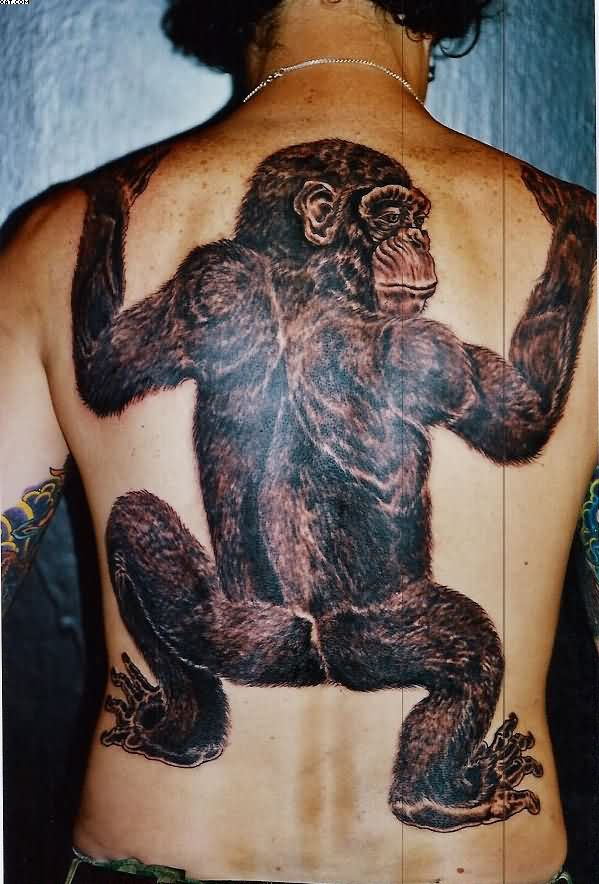 Spider Monkey Tattoo On Back Body
