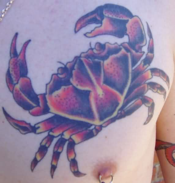 Superb Crab Tattoo And Nipple Piercing