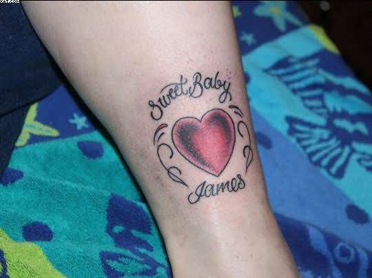 Sweet Baby Heart Ankle Tattoo Design