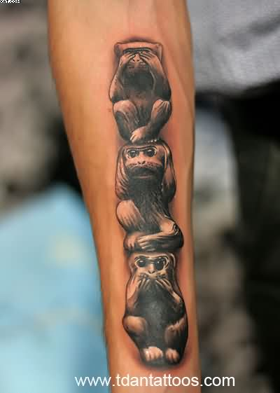 Three Wise Monkeys Tattoo On Forearm