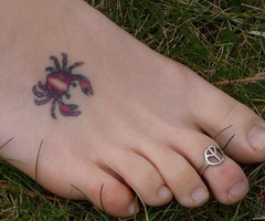Tiny Crab Tattoo On Foot