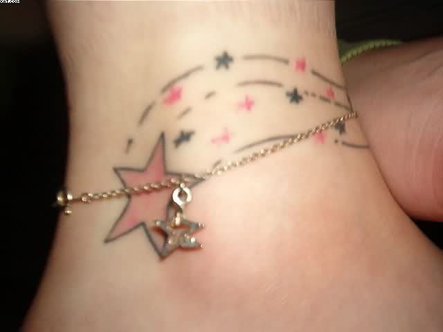 Tiny Stars Ankle Tattoo Design