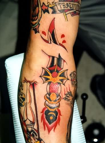 Traditional Curved Dagger Tattoo On Arm