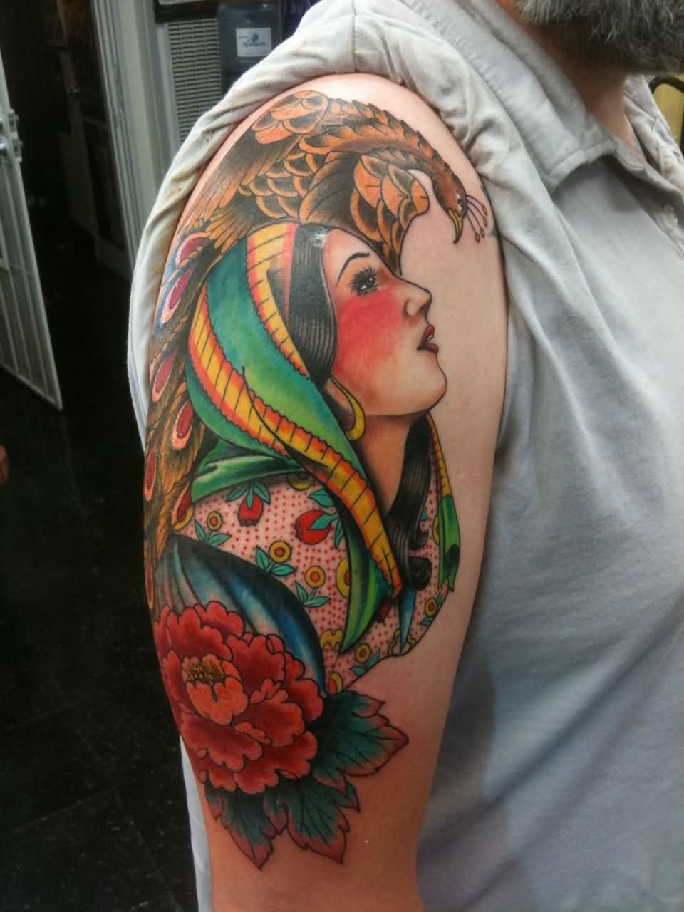 Traditional Gypsy Tattoo On Right Arm