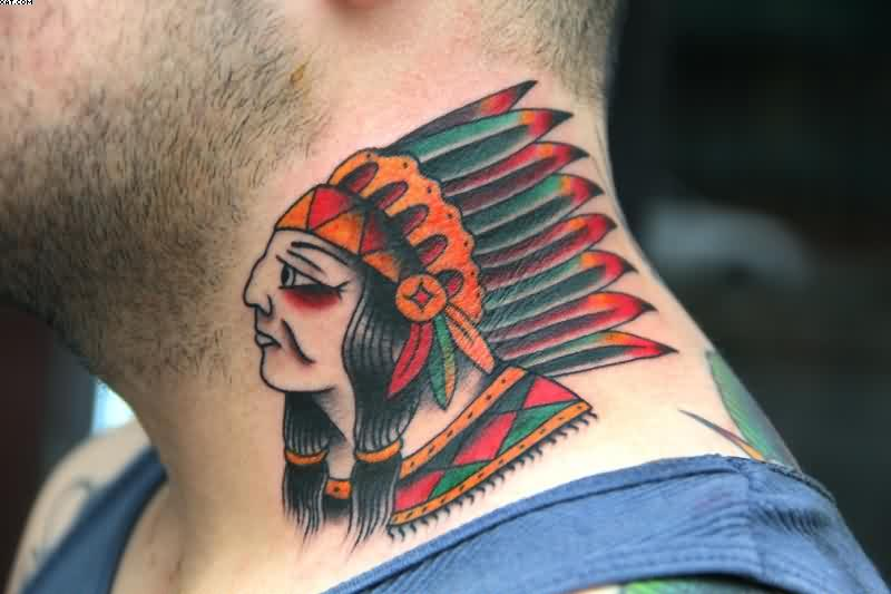 Traditional Indian Face Tattoo On Neck