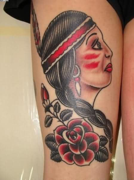 Traditional Indian Woman With Rose Tattoo On Thigh