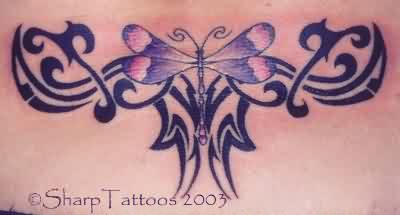 Tribal And Dragonfly Tattoo On Lower Back