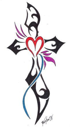 Tribal Cross With Heart Tattoo Design