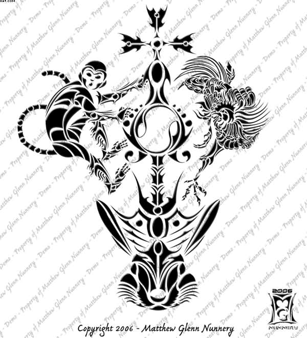 Tribal Monkey Rabbit Rooster Tattoo Designs