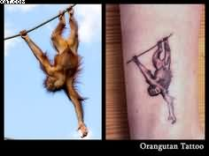 Upside Down Monkey Tattoo Photos