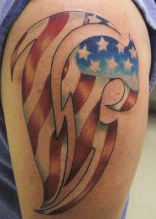 US Tribal Flag Tattoo On Shoulder
