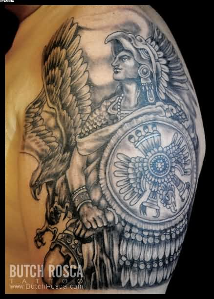 Warrior Aztec Tattoo Design