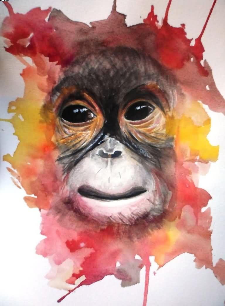 Watercolor Monkey Tattoo Flash