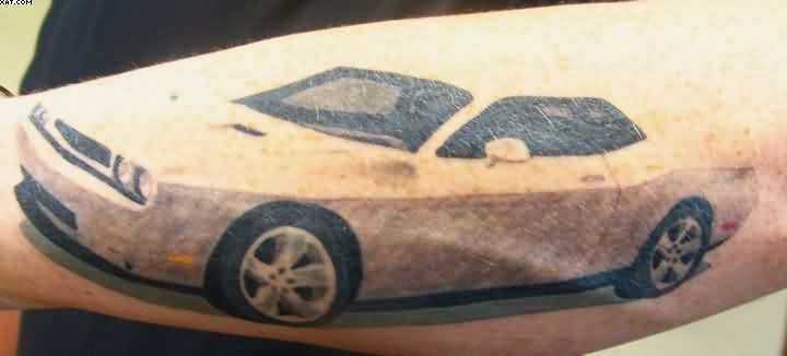 White Car Tattoo On Arm