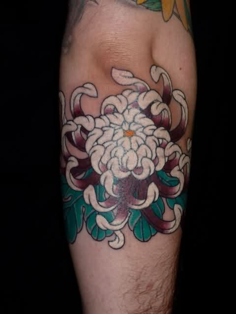 White Chrysanthemum Tattoo On Back Arm