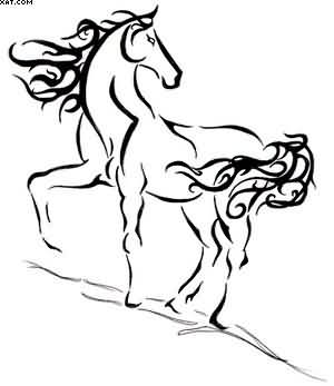 Without Color Horse Tattoo Design