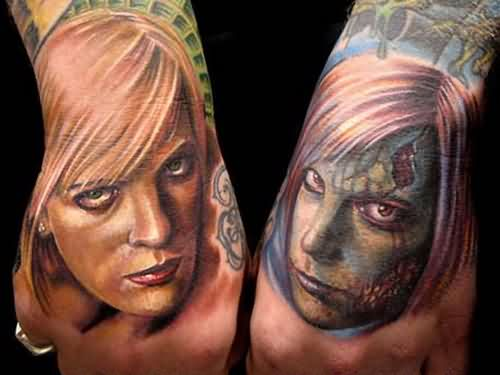 Woman Face Tattoos On Hands