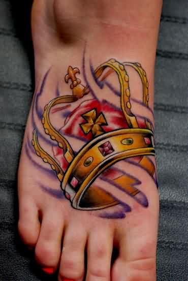 Yellow Crown Tattoo On Foot