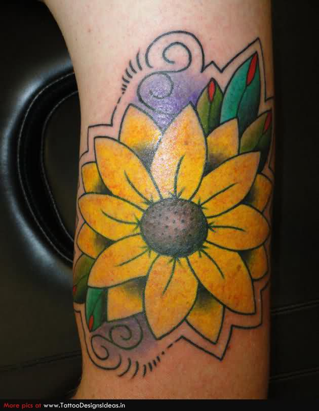 Yellow Daisy Flower Tattoo