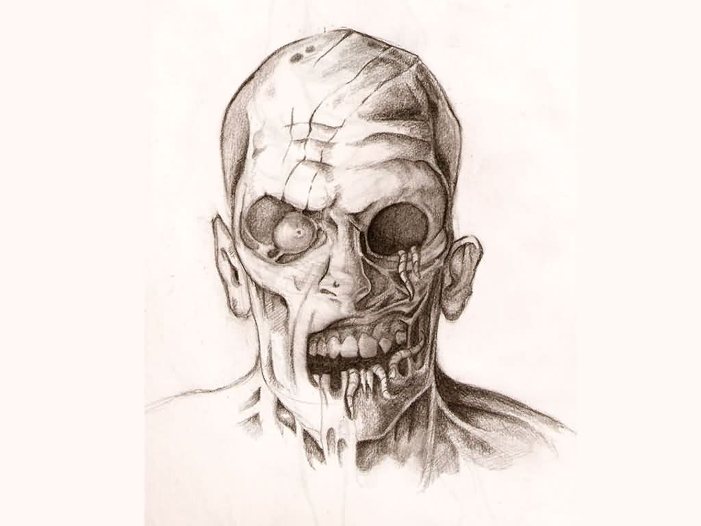 Zombie Face Tattoo DesignZombie Face Drawing