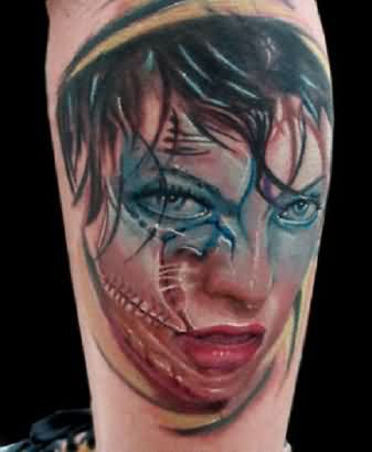 Zombie Girl Face Tattoo
