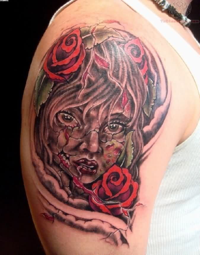 Zombie Horror Tattoo On Shoulder