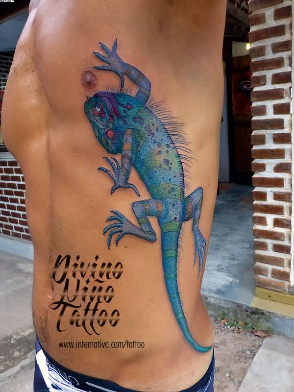 3D Lizard Tattoo On Rib Side