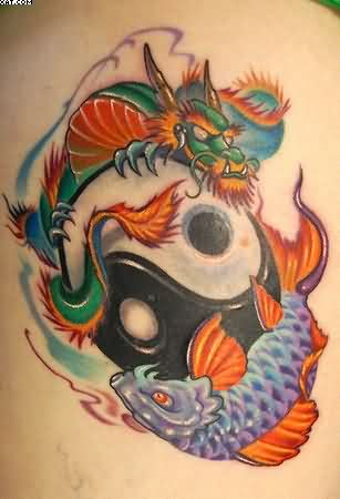 A Colorful Dragon And Koi Yin Yang Tattoo Symbolizing Balance Strength Change And Success.