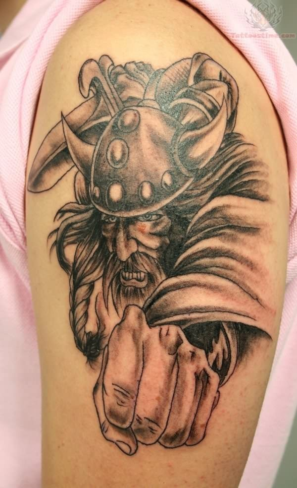 Aggressive Viking Warrior Tattoo For Biceps