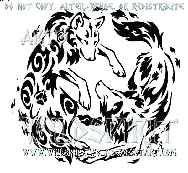 Air And Earth Yin Yang Wolf Tattoo Design