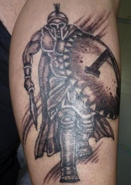 Amazing Ancient Greek Warrior Tattoo On Biceps
