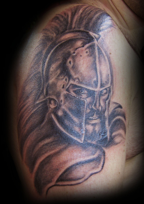 Amazing Angry Spartan Warrior Tattoo For Shoulder