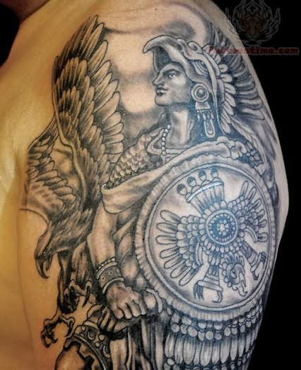 Amazing Aztec Grey Ink Warrior Tattoo