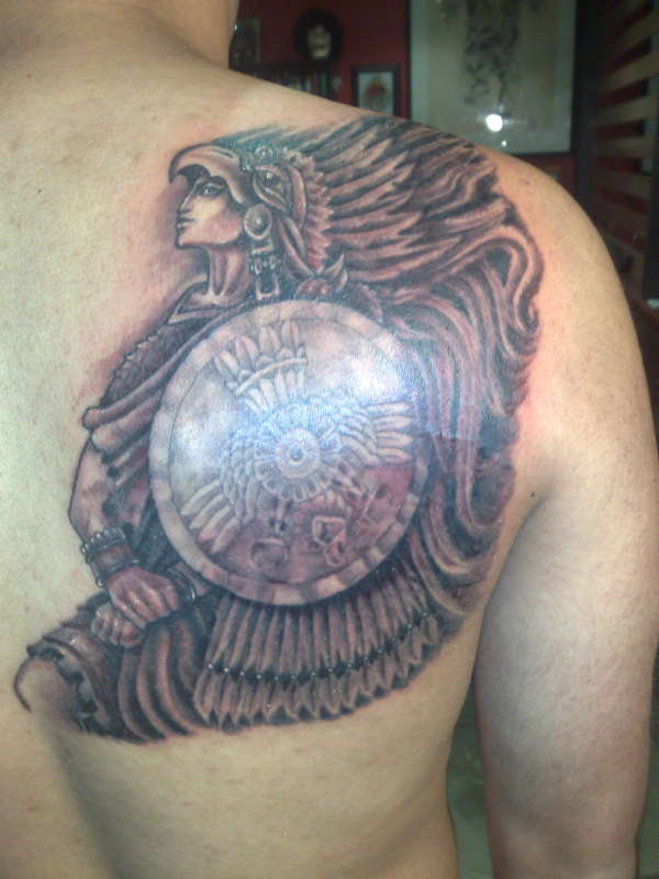 Amazing Aztec Warrior Tattoo On Back Shoulder