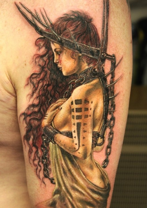 Amazing Girl Warrior Tattoo For Biceps